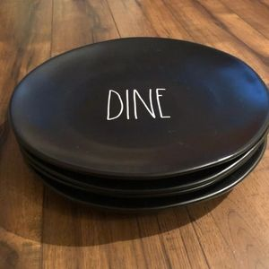 "Rae Dunn Black DINE 11"" Plates - Set of 4"